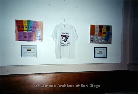 P199.034m.r.t LGHSSD display of flyers, buttons, and a t-shirt on wall at The Center for mayor donor event