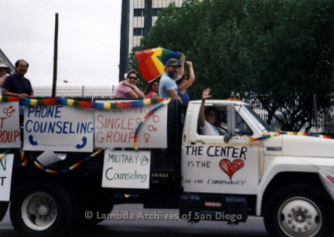 P234.055m.r.t SD Pride Parade: Parade float for The Center