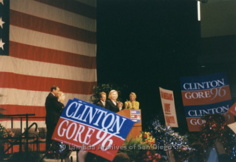 P338.007m.r.t 1996 Democratic National Convention Chicago: Hillary Clinton speaking at convention, Clinton/Gore 96 signs held up in foreground