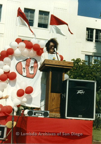 P012.013m.r.t San Diego Walks for Life 1986: Beth Howland speaking at podium