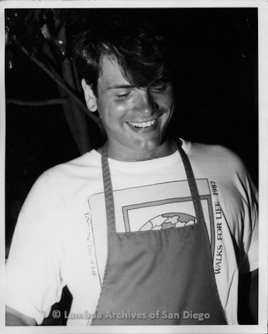 P116.110m.r.t San Diego Walks for Life 1987: David serving BBQ at West Coast Production Company