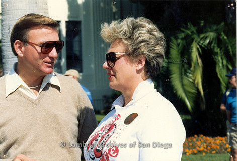 P116.005m.r.t San Diego Walks For Life 1986: Susan Jester talking with Councilman Ed Struiksma