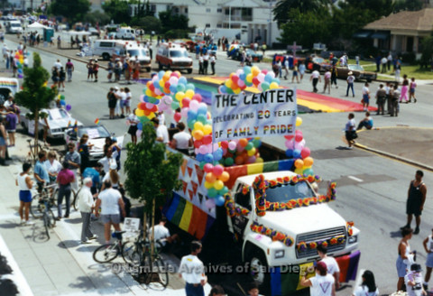 P234.031m.r.t SD Pride Parade: Parade float for the Center