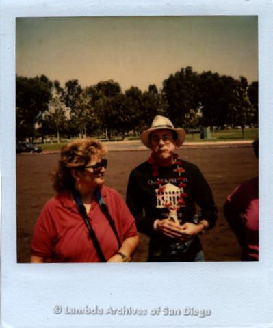 "Jess Jessop at Sandiego Pride Parade, c.1989-   shirt reads:""QUEER & PRESENT DANGER"""