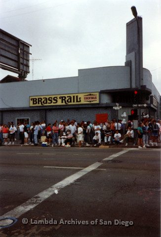 P018.093m.r.t San Diego Pride Parade 1991: People waiting outside the Brass Rail for parade