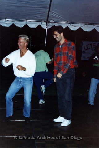 San Diego LGBTQ Pride Festival, July 1995: Merle Johnson (left) dancing