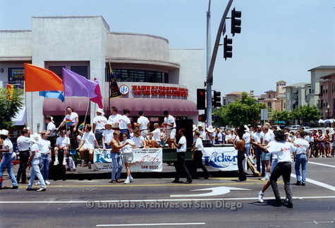 P018.114m.r.t San Diego Pride Parade 1993: Kicker of San Diego and Hamburger Mary's float