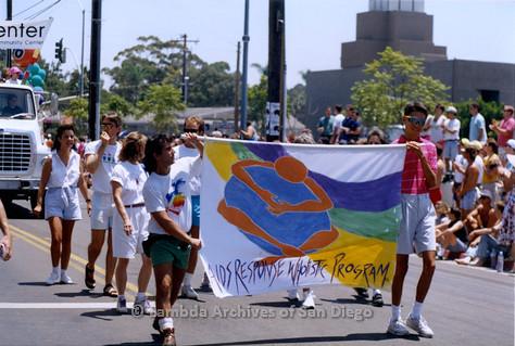 P018.108m.r.t San Diego Pride Parade 1992: AIDS Response Wholistic Program banner