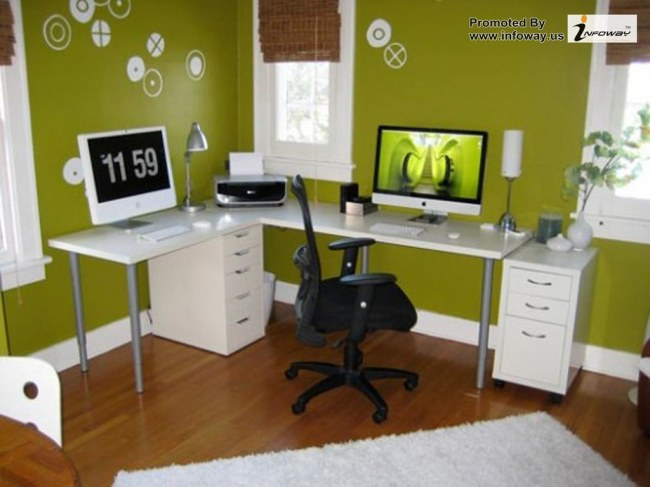 Green Home Office Interior Design Modern Office Cubicle Decoration White Desk
