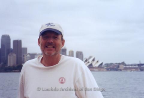 P338.004m.r.t Sydney, Australia trip: Charles McKain posing with Sydney Opera House in background