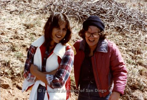 P008.002m.r.t Cuyamaca Fire Roads 1983: Two women posing on trail