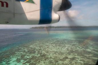 Zelfs het vliegveld van Gizo (eiland) is op een apart eilandje.
