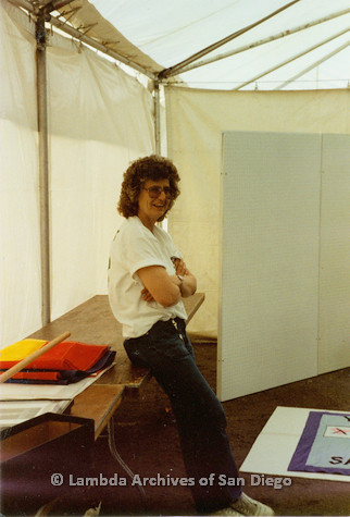 P018.178m.r.t San Diego Pride Festival 1990: Kay Jordan in Lambda Archives booth
