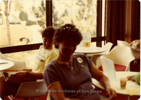 Blood Sisters blood drive, 1983: Jeri Dilno sitting