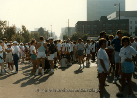 P197.007m.r.t San Diego Walks For Life 1988: Crowd of walkers standing on pavement