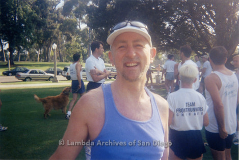 P263.019m.r.t Front Runners and Walkers of San Diego at 1998 Mud Pride: Man smiling at the camera