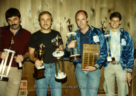 West Coast Pool Challenge at Bee Jay's Country Western Dance Club in San Diego. The Los Angeles Pool League team holds their winning trophies.
