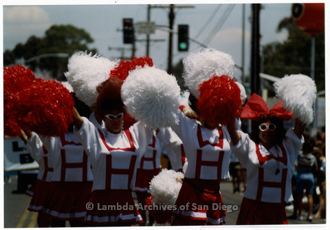 P201.015m.r.t San Diego Pride Parade 1992: The West Hollywood Cheerleaders marching in parade