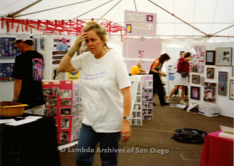 P018.180m.r.t San Diego Pride Festival 1990s: Debbie Zeyher in Lambda Archives booth
