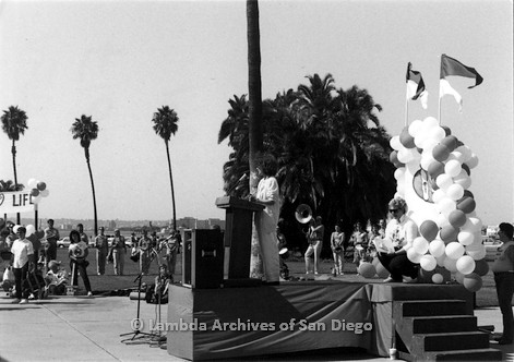 P116.025m.r.t San Diego Walks For Life 1986: Susan Jester and Beth Howland at podium on stage