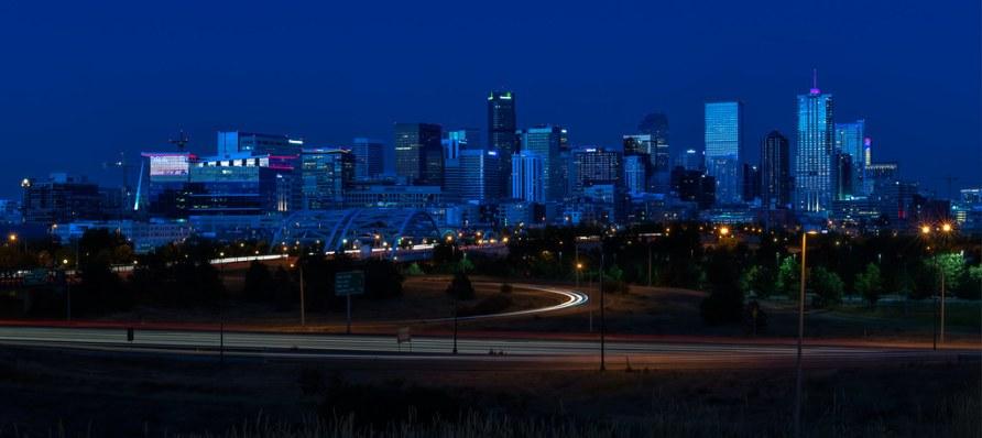 City Of Denver Colorado in Blue Hour (Long Exposure)