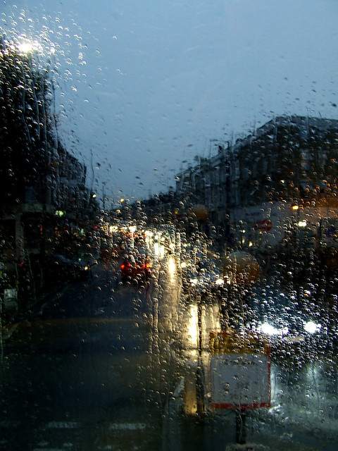 rainy bus ride near Queens Park Station