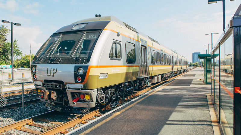 First testing of the Union Pearson Express vehicles, along Lakeshore West.