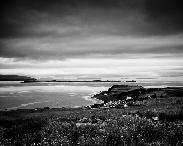 Looking towards Stein and out across Loch Bay, Isle of Skye (Mono Version)