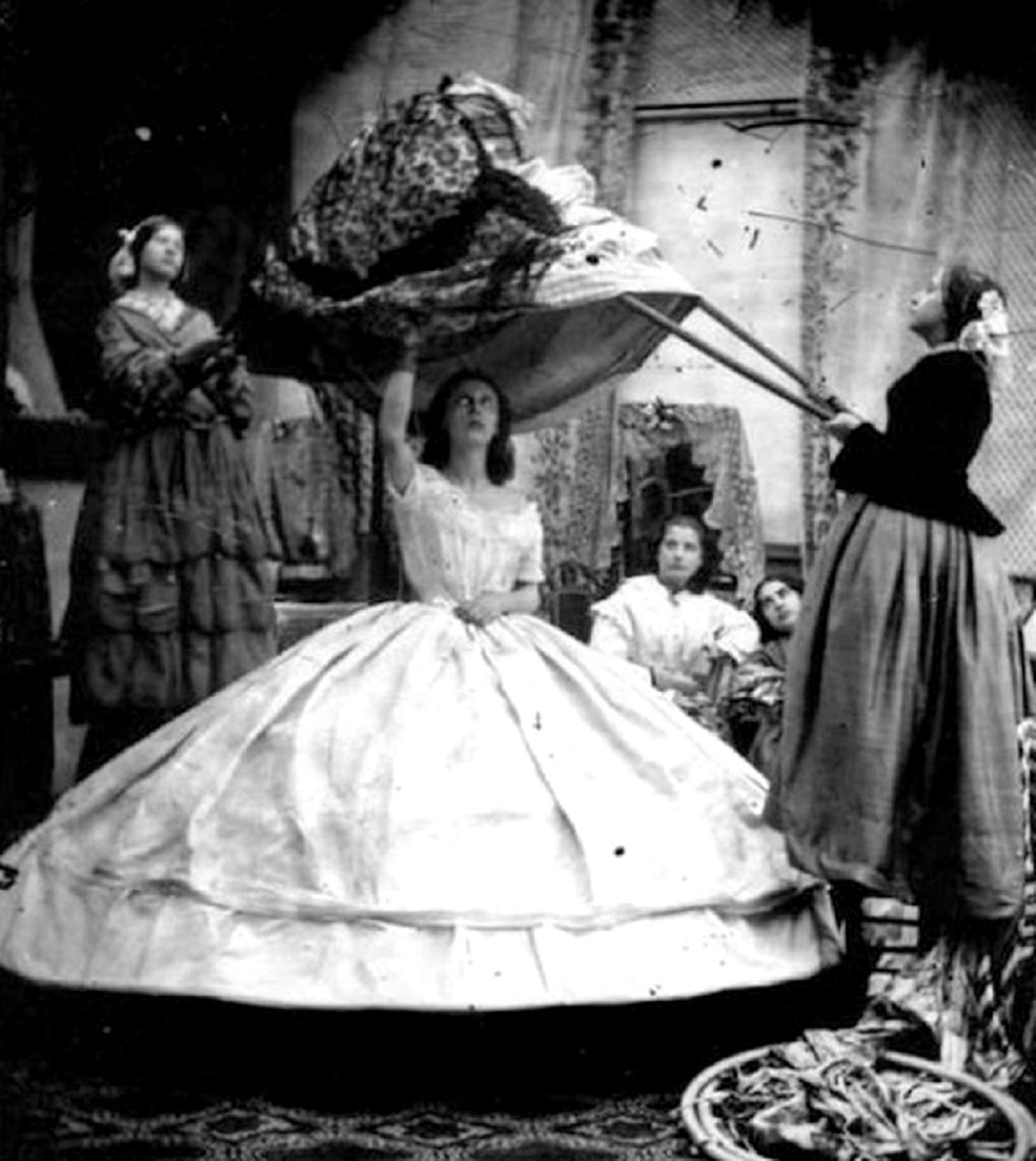 フープ・スカートまたはクリノリン・スカートの写真例。