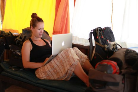 Diana in her temporary office
