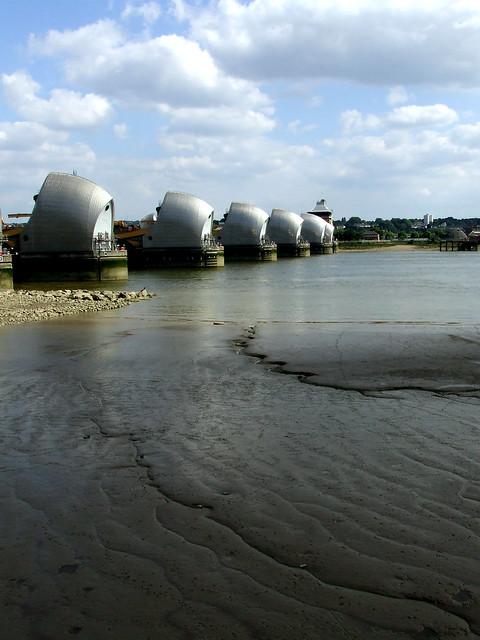 Thames barrier at low tide