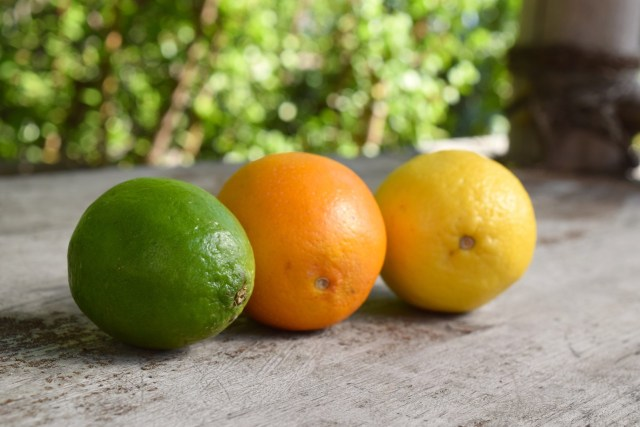 lime, orange, lemon