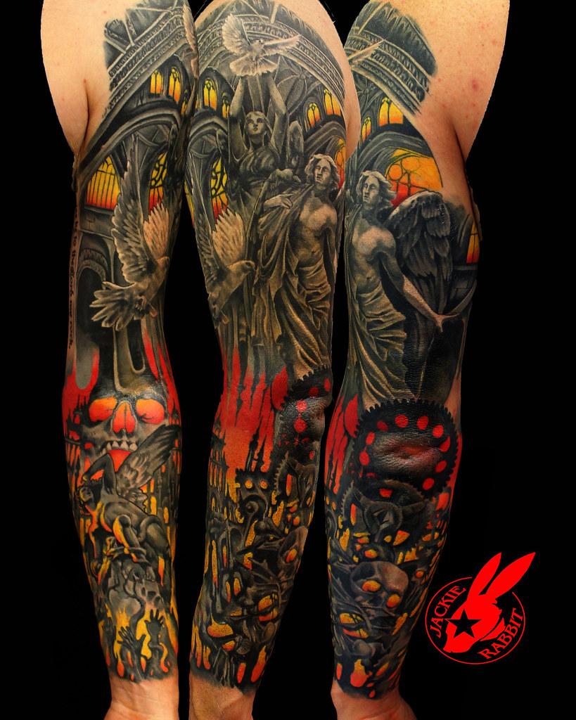 Heaven And Hell Back Tattoo : heaven, tattoo, Heaven, Angel, Demon, Sleeve, Teattoo, Jackie, Rabbit, Flickr