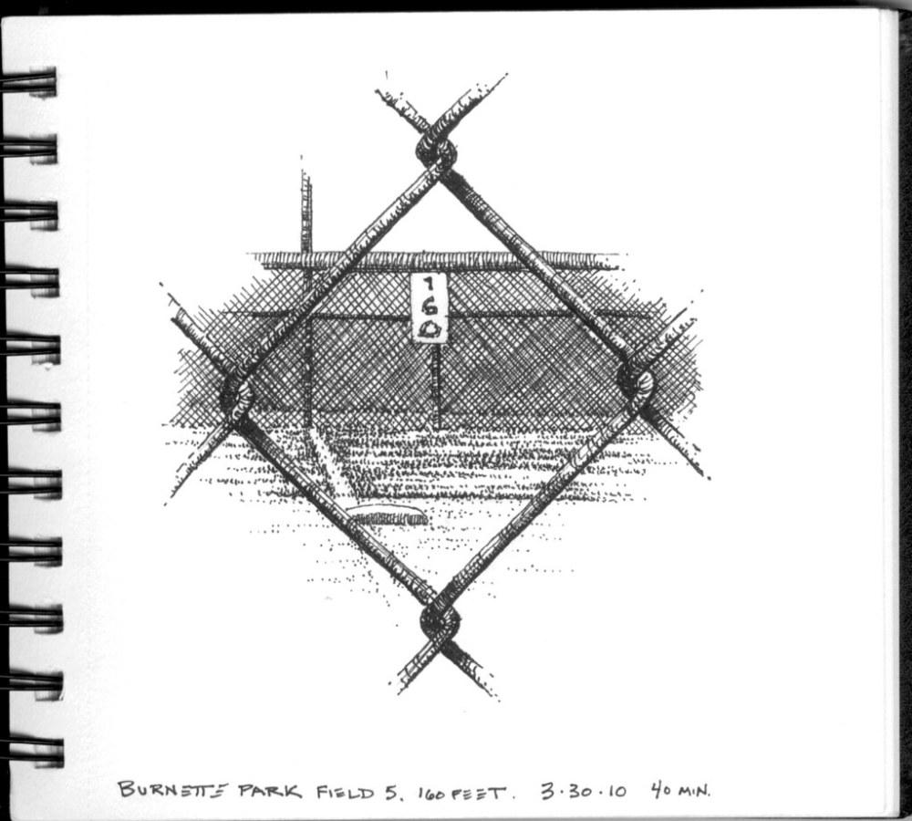 medium resolution of  160 feet through a chain link fence by swaim sketching