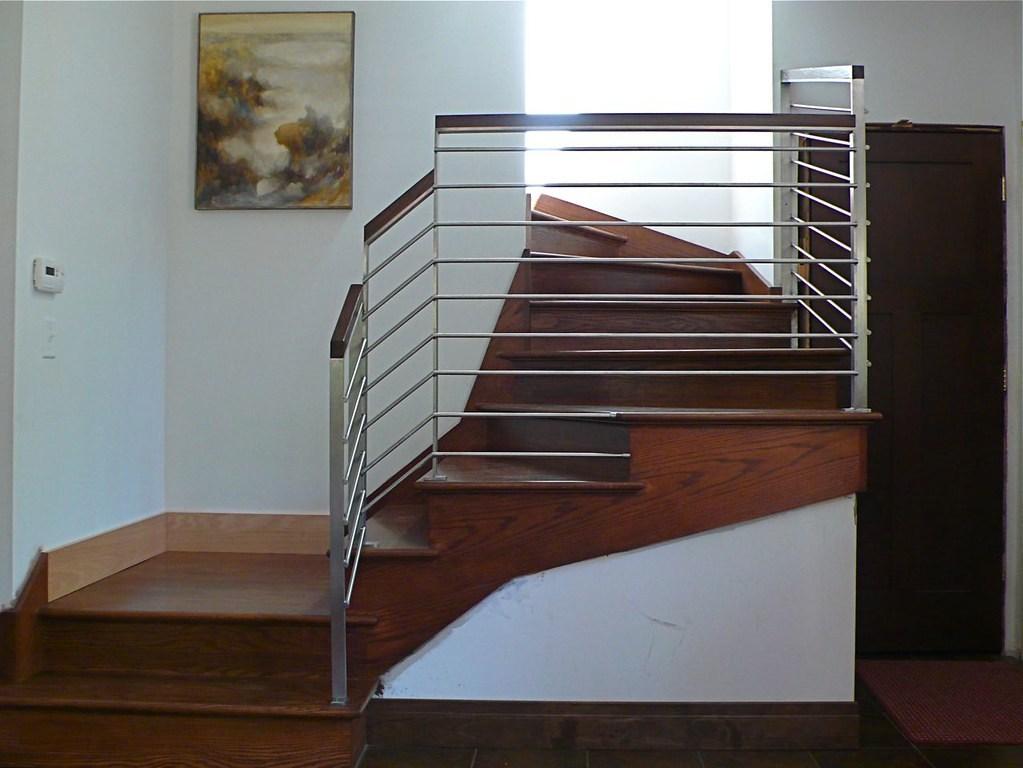 Modern Stainless Steel Staircase Railing This Family Took … Flickr   Modern Stainless Steel Staircase Railing   Glass   Rectangle   Elegant   Modern Farmhouse   Hand