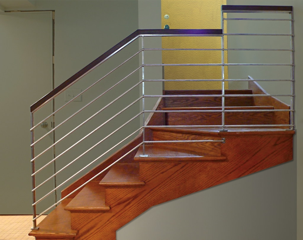 Modern Stainless Stair Railing © In Stainless Steel Oak … Flickr | Modern Stainless Steel Staircase Railing | Modular Steel | Hand | Crystal Handrail | Contemporary | Exterior