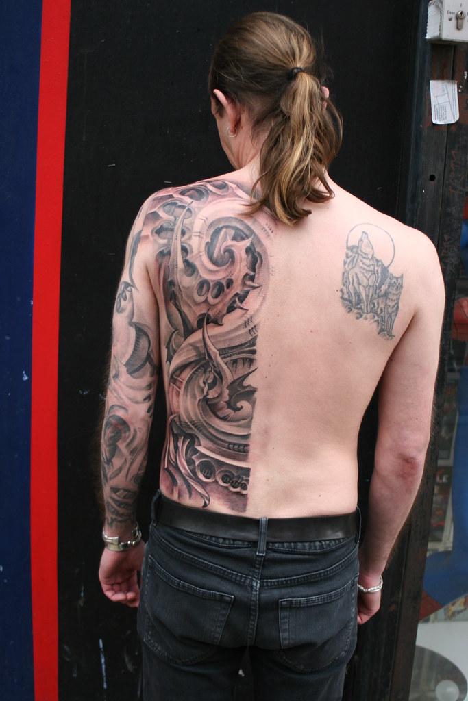 Half Back Tattoos : tattoos, Biomechanical, Organic, Tattoo, Backp…, Flickr