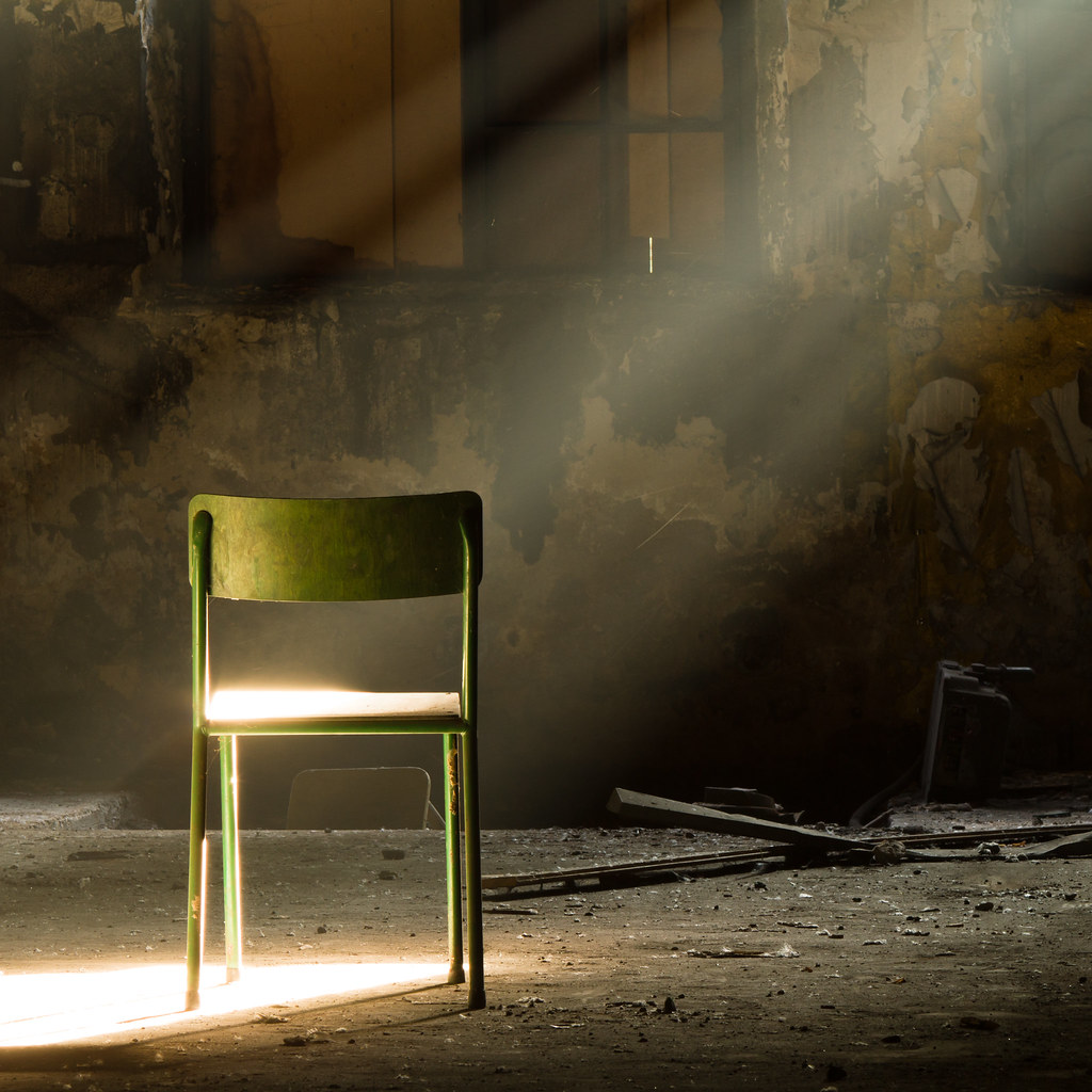Download green chair images and photos. a lone green chair in a dark dirty room a ray of sunlight flickr