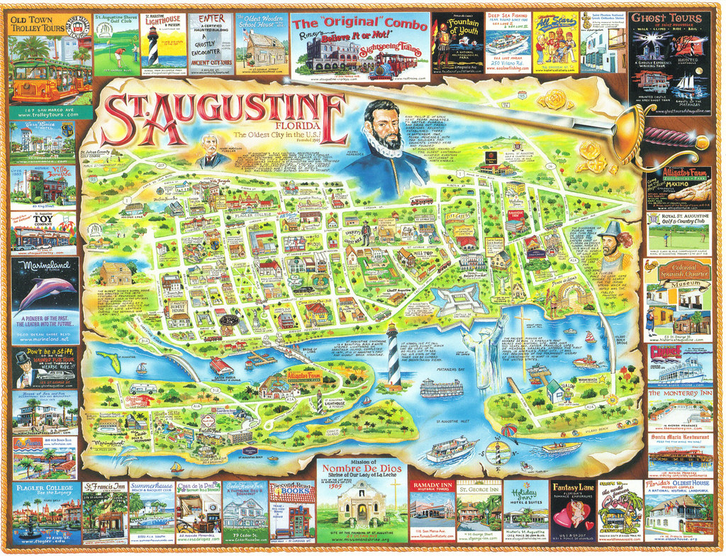 Florida St Augustine Map Postcard