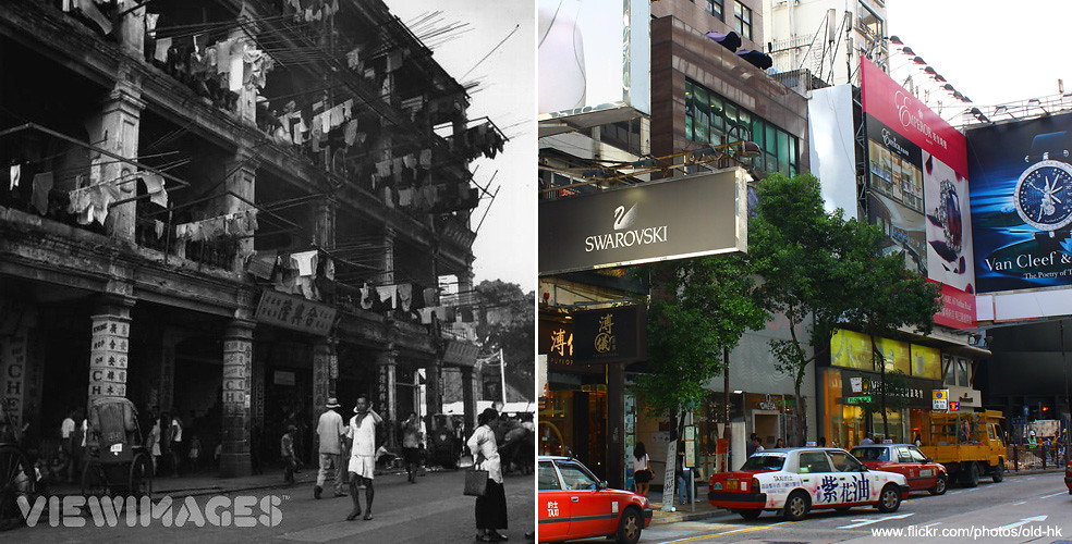 尖沙咀 - 廣東道 1949   樓上那種雜亂的晾曬方法,呈現了某階層的生活模式; 而樓下地鋪的樓柱,寫上洋文 ...