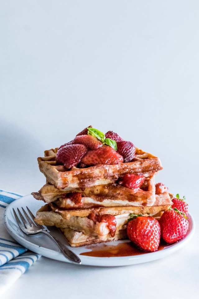 strawberry waffles with balsamic-roasted strawberries