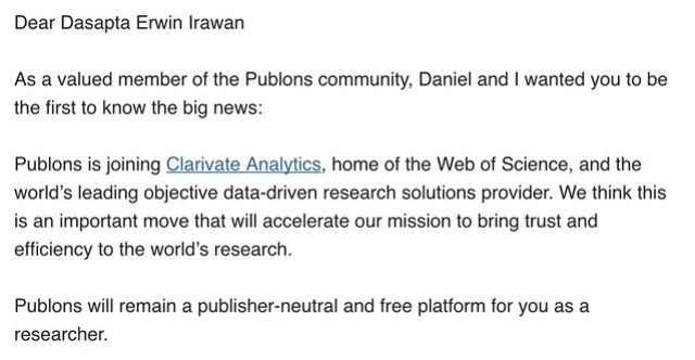Publons announcement: Clarivate Analytics acquires Publons