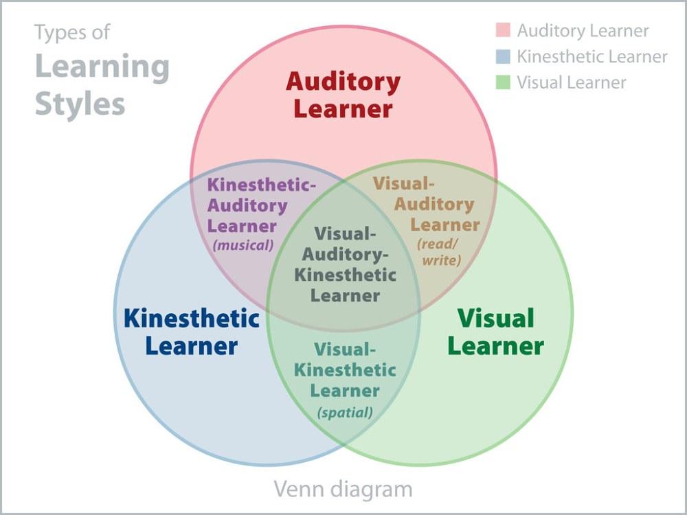 medium resolution of  venn diagram of 3 learning styles by joandragonfly