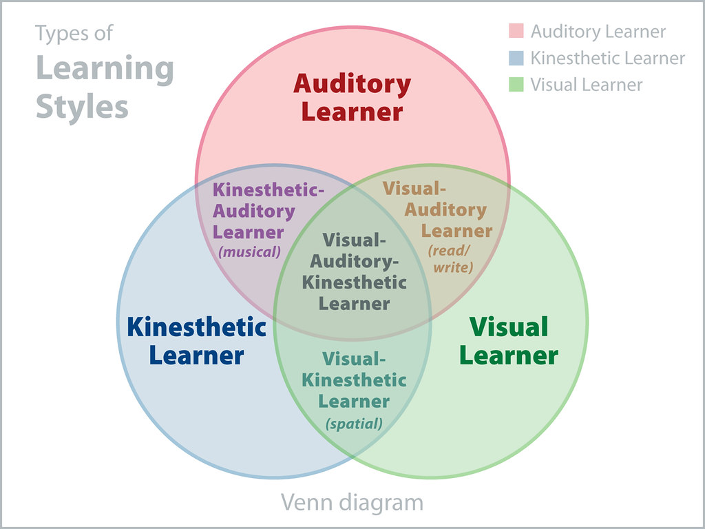 hight resolution of  venn diagram of 3 learning styles by joandragonfly