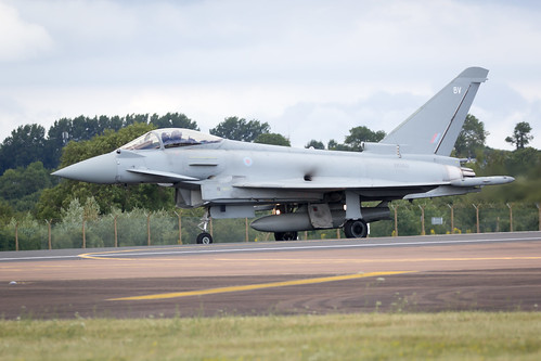 Royal Air Force RAF Euro Fighter Typhoon on landing approach after display at Royal International Air Tattoo 2017 RIAT
