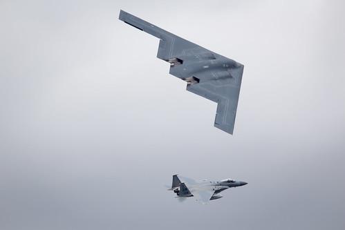 Northrop Grumman B-2 Spirit Stealth Bomber flypast at Fairford International Air Tattoo 2017