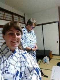 Attempting to wear yukatas to the public onsen...