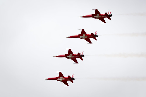 The Patrouille Suisse Display Team of the Swiss Air Force display at Fairford International Air Tattoo 2017