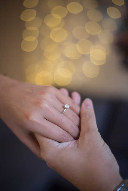 A newly engaged couple
