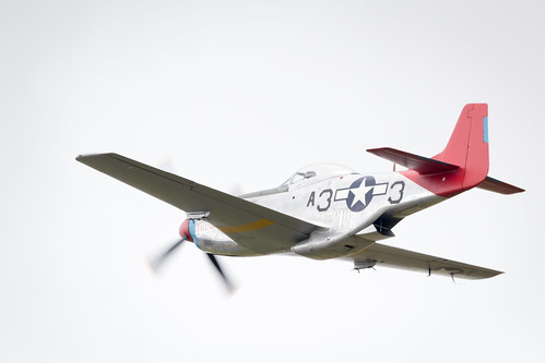 """P-51 Tuskegee Airmen """"Red Tail"""" Mustang displays Fairford International Air Tattoo 2017"""